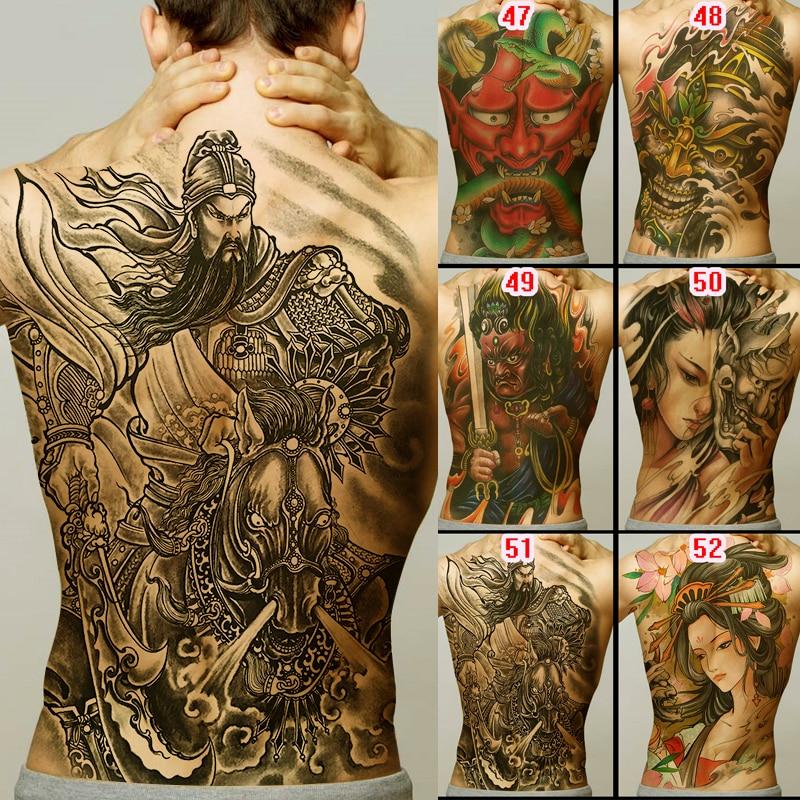 Full Back Tattoo Buddha Loyalty Geisha Dragon Tiger Carp Designs Men Temporary Tattoo Sticker Large Size New Body Art Girl Model