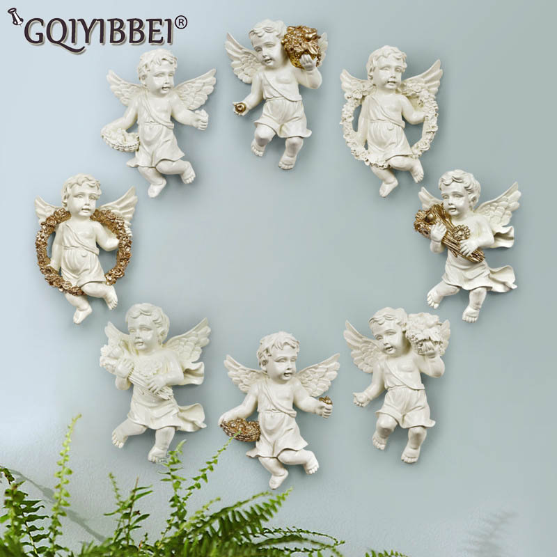 GQIYIBBEI European Home Ornament Angel Hanging Stereo Creative Living Room Wall Background Decorative Resin Technology