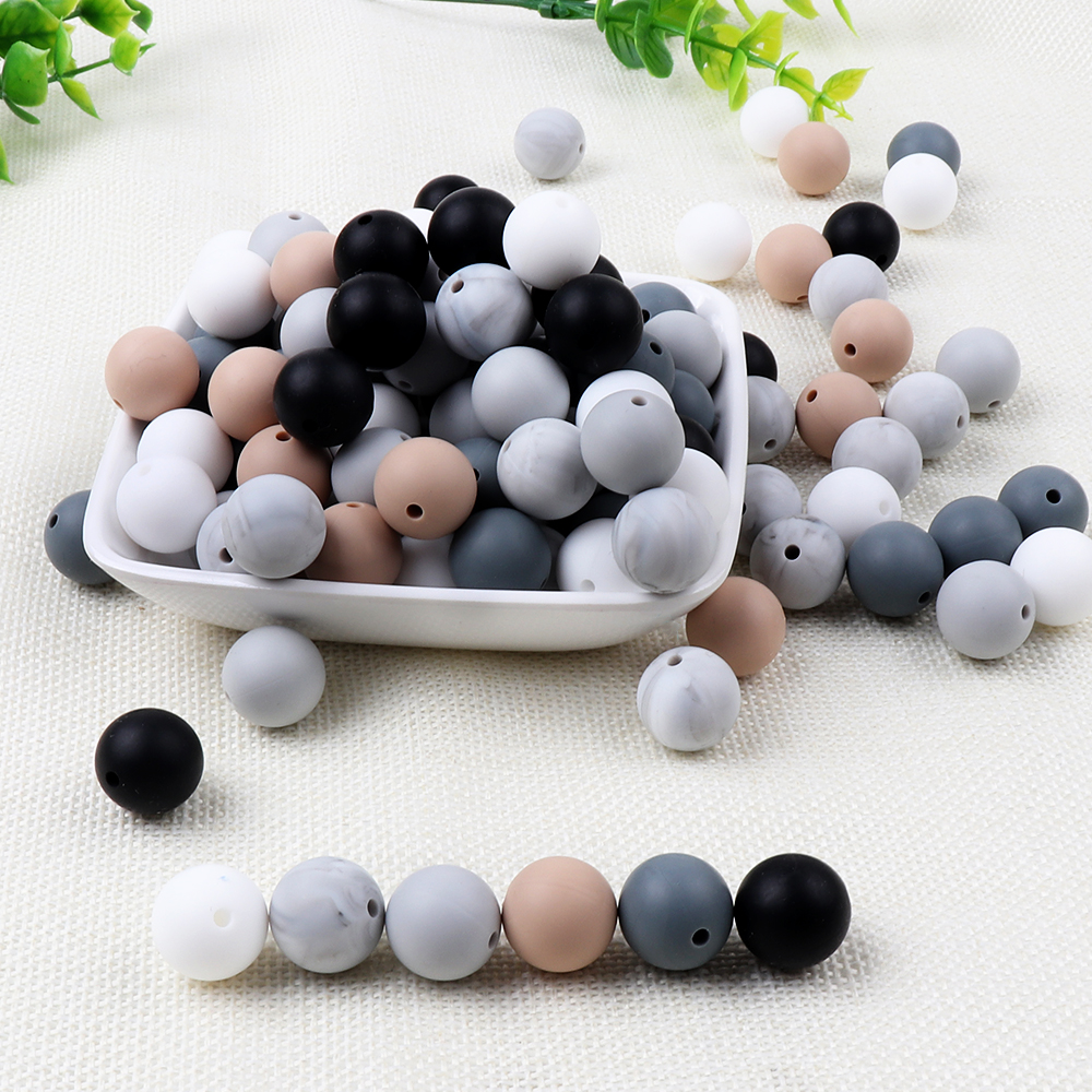 Tyry.hu 30pcs/lot Silicone Beads Baby Teether 15mm Baby Teething Beads For Pacifier Chain Silicone Teether Bpa Free