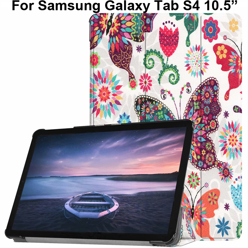 Fashion Painting Case For Samsung Galaxy Tab S4 10.5Inch Shell Pouch T830 T835 Cover Color Butterfly Girl Tower Print Tabs4 10.5