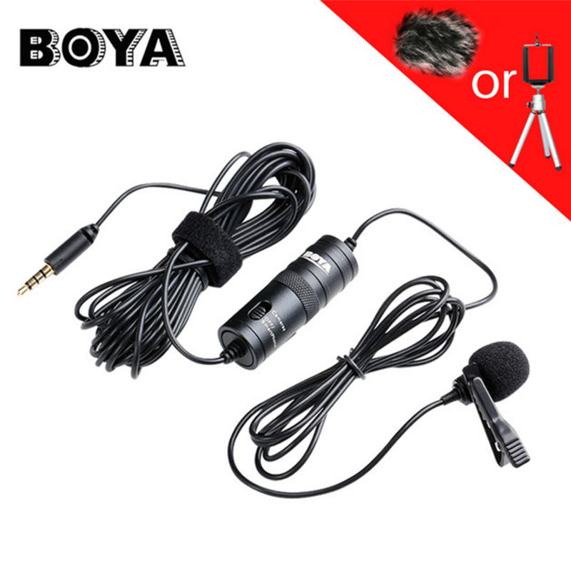 BOYA Label Lavalier Omnidirectional Condenser Microphone for iPhone Samsung LG for Canon Nikon DSLR Camcorder Audio Recorders