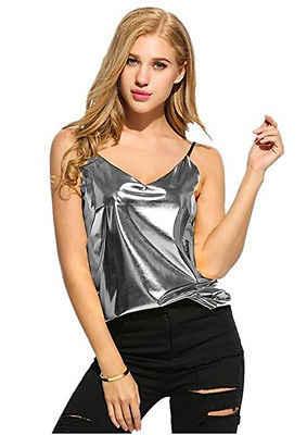 מכירה לוהטת סקסי V-צוואר כסף זהב ללא שרוולים חולצה יבול חולצות נשים טנקי Camis קיץ אפוד מזדמן טנק למעלה חולצה אופנה