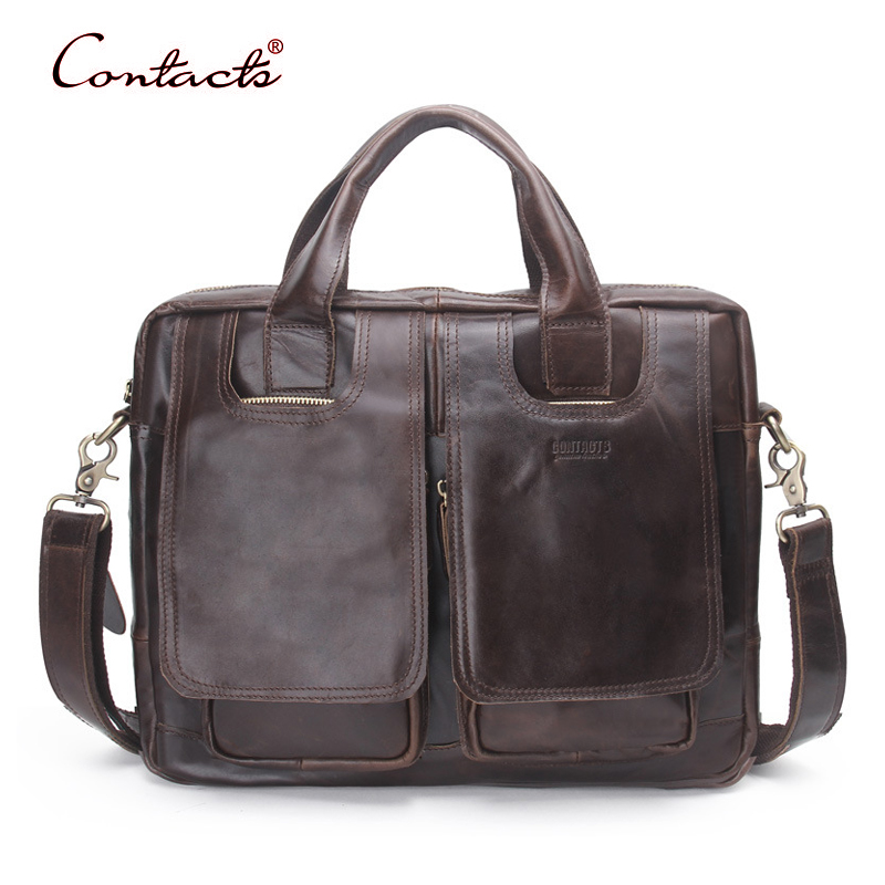 CONTACT'S Men Genuine Leather Handbag Crossbody Bags Tote Shoulder Messenger Bag Male Briefcase Business 2017 New Famous Brand xiyuan genuine leather handbag men messenger bags male briefcase handbags man laptop bags portfolio shoulder crossbody bag brown