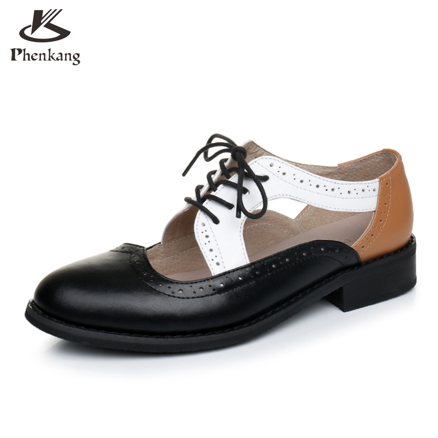 ФОТО Genuine leather big woman US size 11 designer vintage shoes round toe handmade black white brown 2017 oxford shoes for women