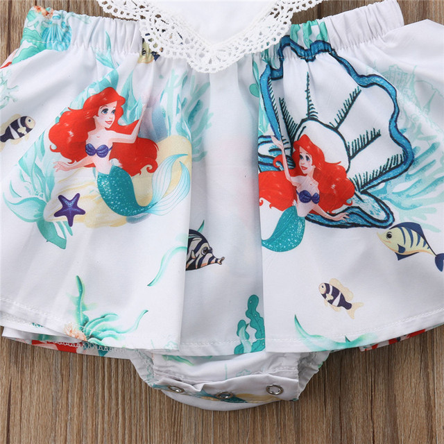 2018 Newborn Kids Baby Girls Lace Flying Sleeves Mermaid Bodysuit Dress Cute Headband Summer Jumpsuit Infants Outfit Clothes