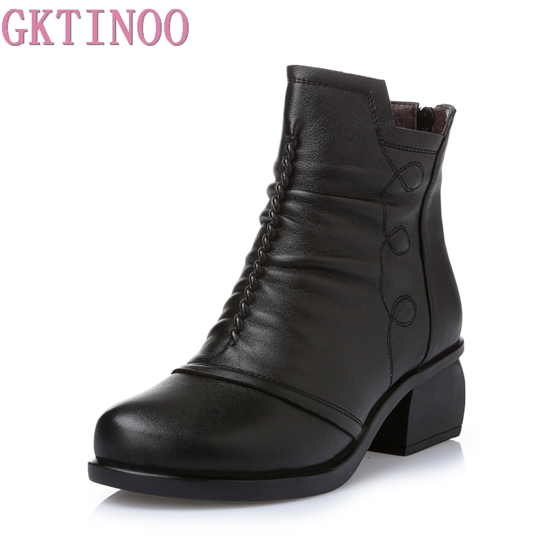 GKTINOO/2018 Новое поступление, осенне-зимние женские ботильоны из натуральной кожи, короткие ботинки, большие размеры, женская обувь на меху