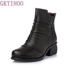 GKTINOO 2019 الوافدين الجدد الخريف الشتاء النساء حذاء من الجلد جلد طبيعي الجوارب قصيرة كبيرة الحجم أحذية النساء مع الفراء الأحذية