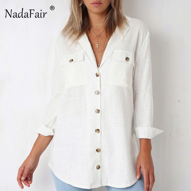 19f68b34ea8 Nadafair Cotton Long Sleeve Blouse Baggy Pocket Autumn Winter Shirts Women  Streatwear White Black Loose V