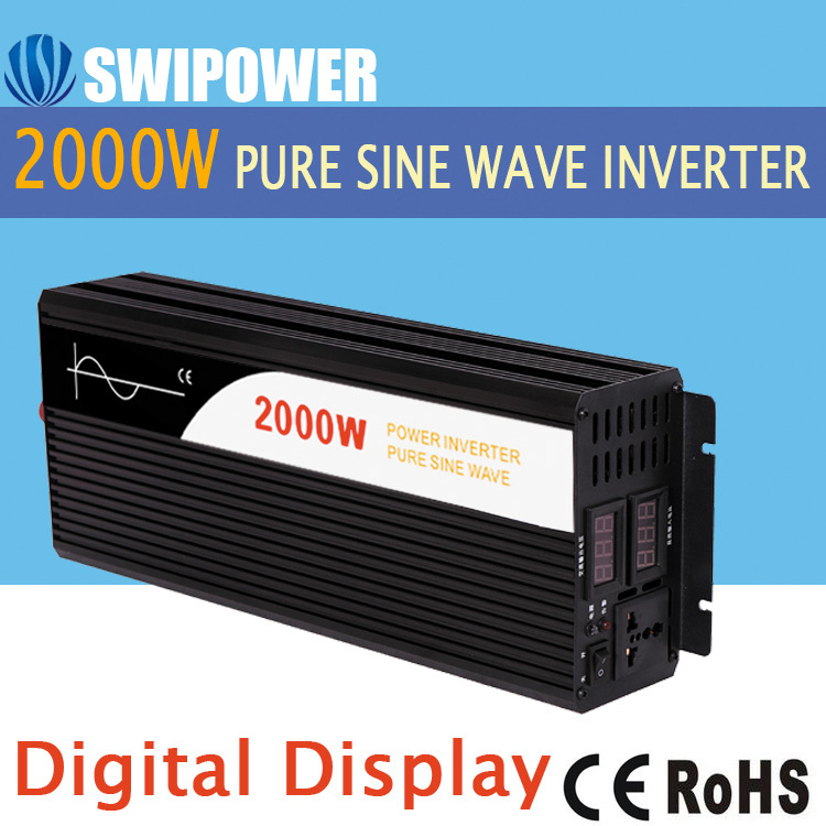 2000W pure sine wave solar power inverter DC 12V 24V 48V  to AC 110V 220V digital display 2000w solar power inverter charger dc to ac pump inverter pure sine wave power inverter 2000w 2kw lcd