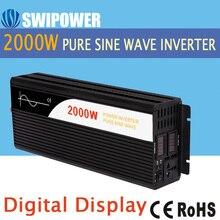 2000 Вт Чистая синусоида Солнечной Инвертер DC 12 В 24 В 48 В к AC 110 В 220 В цифровой дисплей