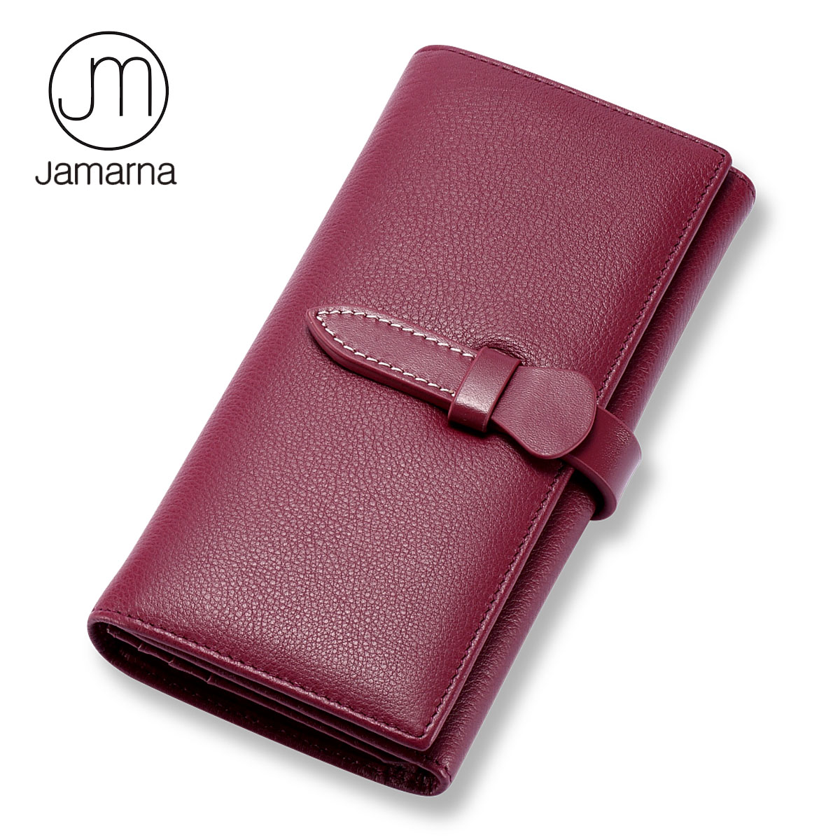 Jamarna Brand Wallet Women Genuine Leather Long Clutch Ladies Purse Card Holder Zipper Packet Women Leather Wallet Female Red jamarna brand wallet female genuine leather long clutch women purse with phone holder women wallets fashion crocodile leather