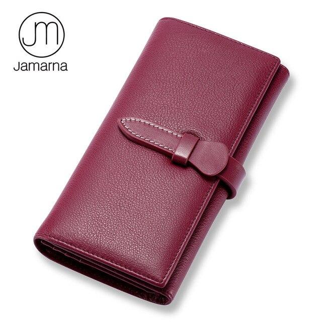 780d17559613 Jamarna брендовый кошелек женский из натуральной кожи Длинный Клатч женский  кошелек держатель для карт молния пакет