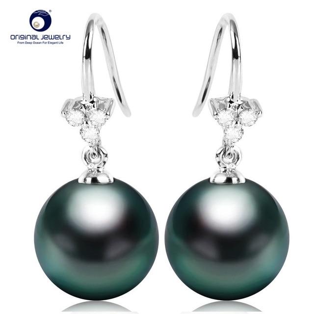 YS 18K Solid Gold Earring 8 9mm Black Tahitian Pearl Drop Earrings Wedding Fine Jewelry
