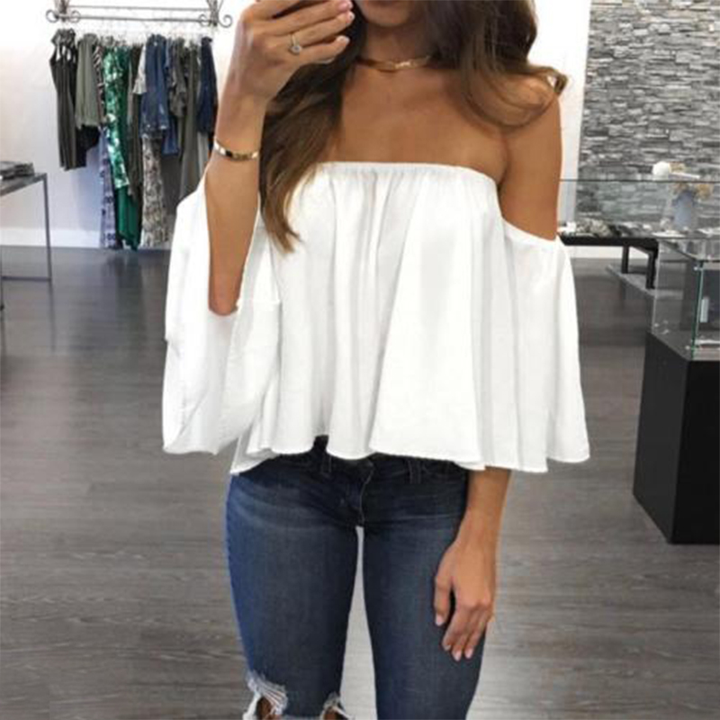 Fashion Women Off Shoulder Top Long Sleeve Pullover Casual Blouse Hals Langarm Chiffon Schulter Chiffon Blouse 2018 G1