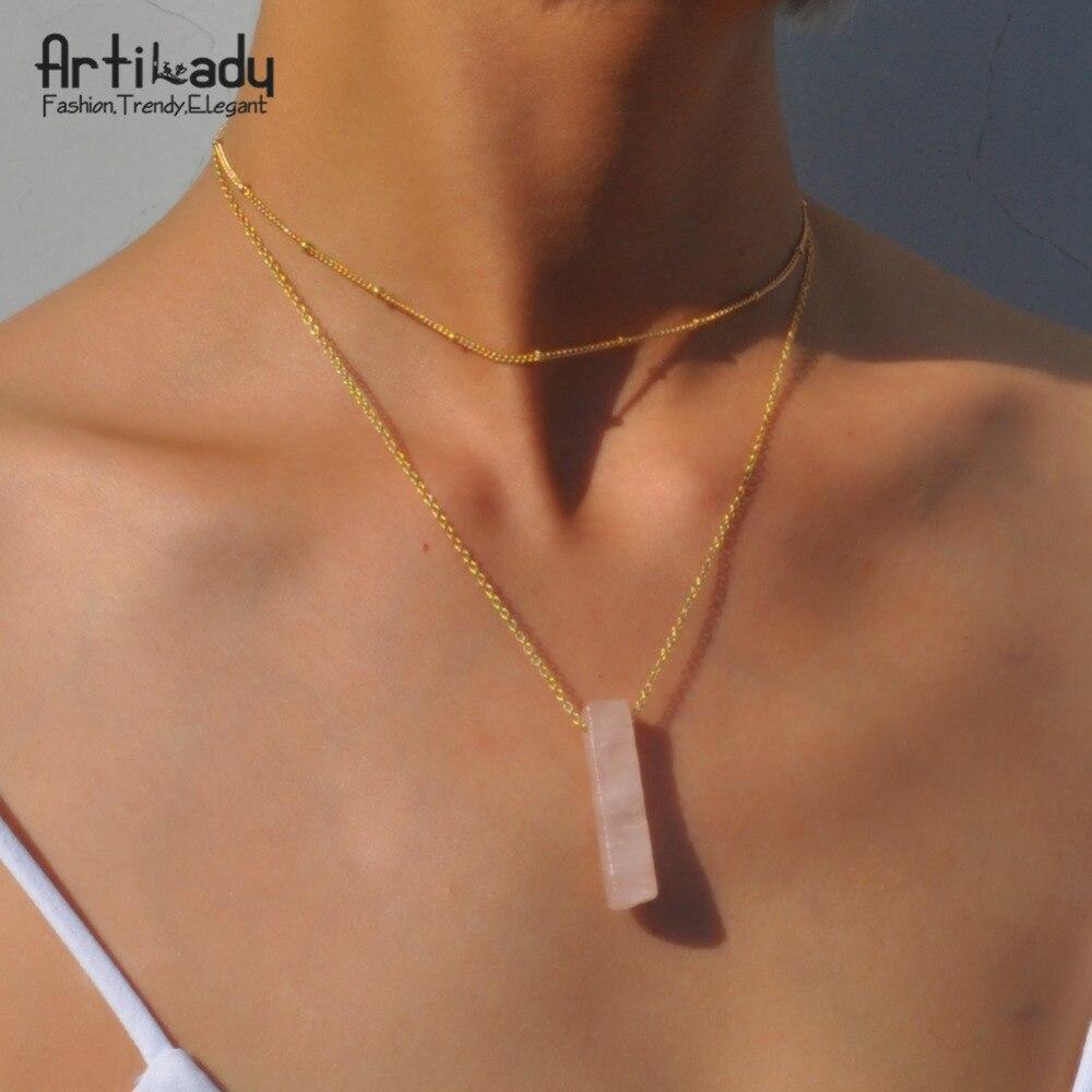 Artilady натуральный кварц колье цепочки и ожерелья слои сырье хрустальный каменный кулон для женщин украшения подарок 4 варианта