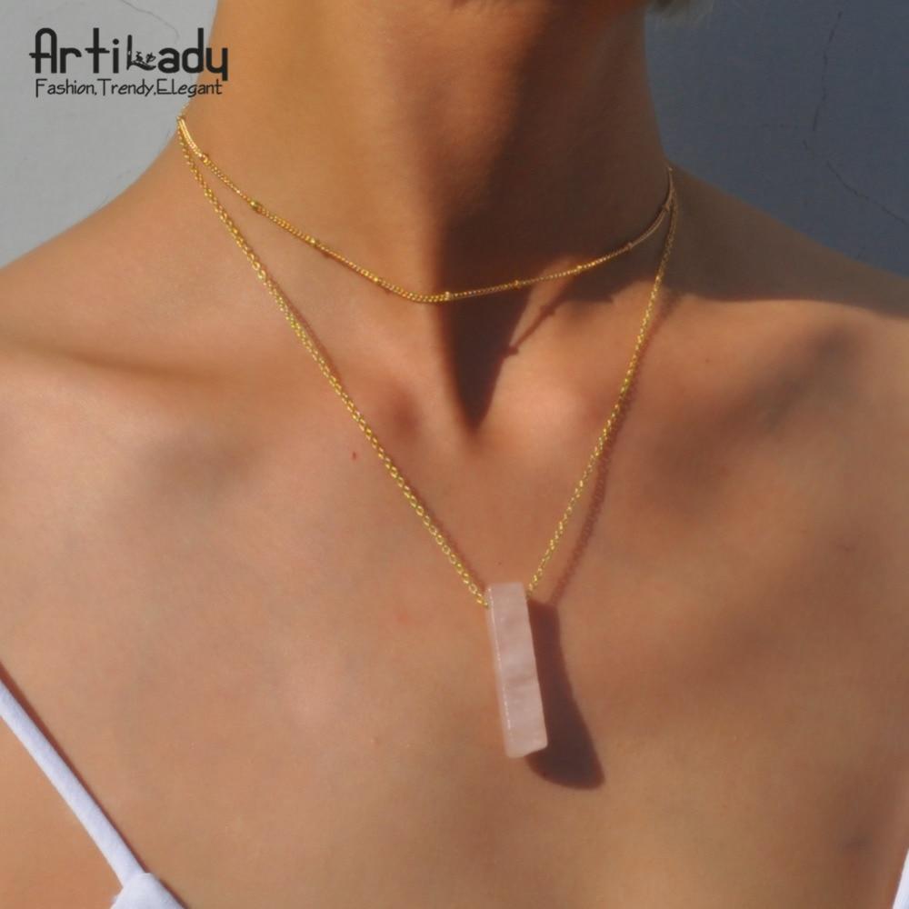 Artilady prirodni kvarc ogrlica ogrlica sloj kamena privjesak ogrlica za žene nakit dar 4 opcije