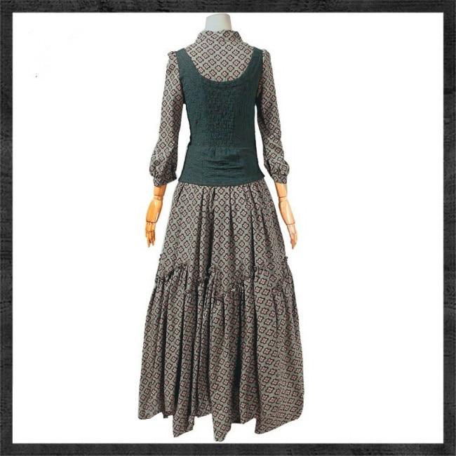 Femmes printemps automne Vintage robes robe ethnique col Mandarin une ligne femme Maxi robe broderie Bandage Vestidos J2949 - 5