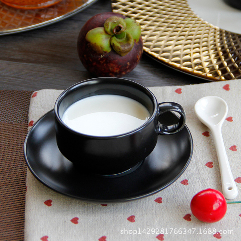 Free shipping Black matte ceramic coffee cup with dish spoon matte western style 180ML TT197