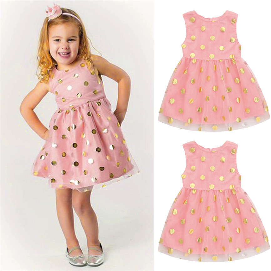 2018 Girls Princess Dress Baby Girls Infant Toddle Dot Tutu Zip Sleeveless Clothes Dress For Wedding&Party Dropshipping 0116