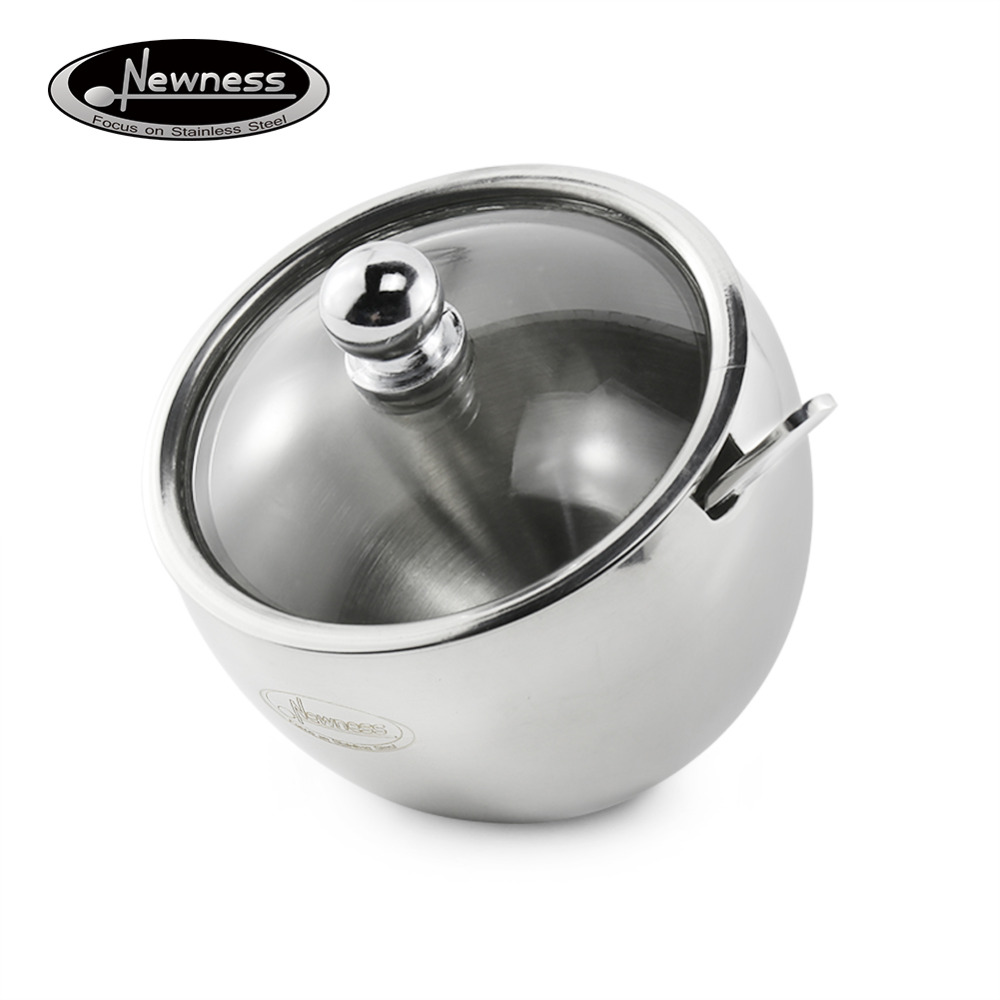 stainless steel sugar bowl promotionshop for promotional  - newness stainless steel sugar bowl with glass oblique opening lid (forbetter recognition) and sugar spoon for home and kitchen