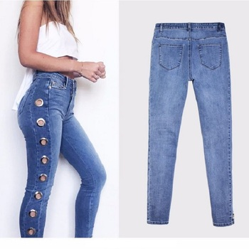 New Skinny Jeans Women 2019 Denim Pants Holes Destroyed Pencil Pants sexy club wear Trousers Blue Stretch Ripped Jeans fashion embroidered flares jeans with embroidery ripped jeans for women jeans with lace sexy skinny jeans pencil pants pp42 z30