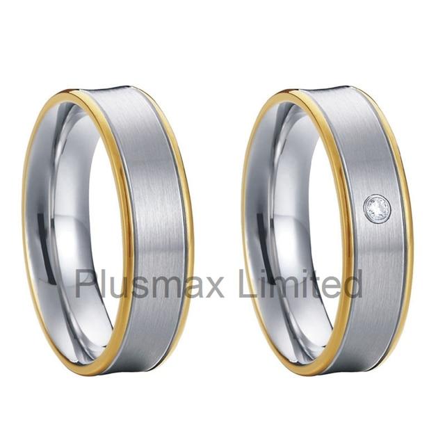 Top quality custom promise rings bicolor CZ diamond handmade textured tungsten carbide wedding rings pair argollas de matrimonio