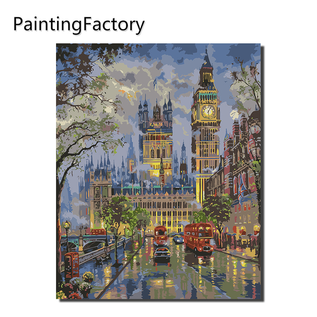 PaintingFactory Thành Phố Đêm Đồng Hồ phòng xe Màu Đỏ Tranh By Numbers Nội Thất Hiện Đại, Tường Nghệ Thuật Acrylic Sơn Trên Canvas Hand Painted