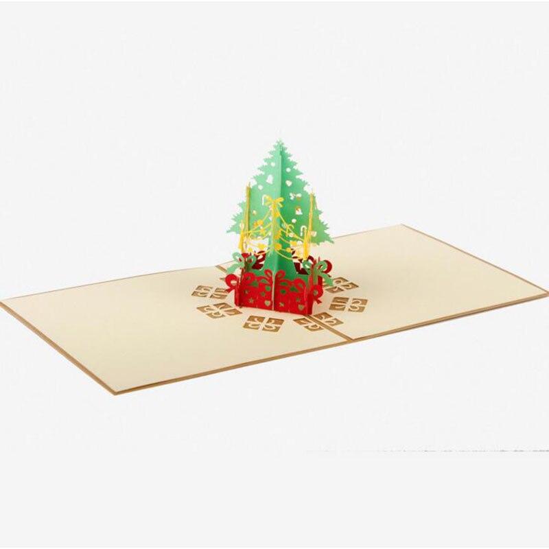 3d Pop Up Origami Paper Laser Cut Vintage Christmas Tree Gift