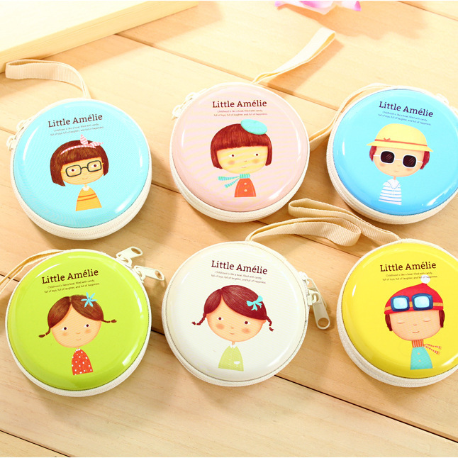 Korean Cartoon Cute Girl Pattern Tinplate Storage Bag Desk Organizer Mini Earphone Headphone Case Carrying Pouch hot sale earphone bag earbud headphone carrying bag earphone storage coin pouch case cc2417