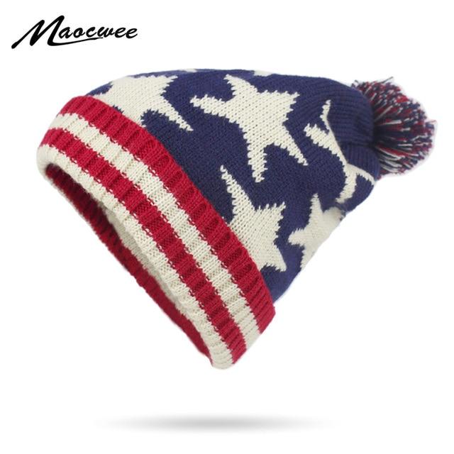 Donna Berretto di Lavoro A Maglia di Inverno Berretti in Stile Americano  Cappelli A Strisce a a1287a1e9c9e