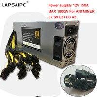 Lapsaipc Miner Power Supply 1800W MAX 150A 12V PSU 176 264V For BTC LTC DASH ANTMINER