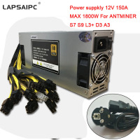 Lapsaipc Miner Power Supply 1800W MAX 150A 12V PSU 176 264V For BTC LTC DASH ANTMINER