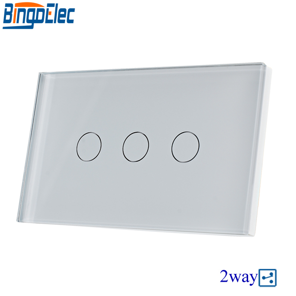 Hot Sale AU/US Standard Bingoelec 110V-220V White Glass Panel 3gang 2way Touch Switch, Wall Mounted Stair Switch, Good Quality.