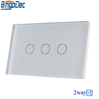 Hot Sale AU/US Standard Bingoelec 110V 220V White Glass Panel 3gang 2way Touch Switch, Wall Mounted Stair Switch, Good Quality.