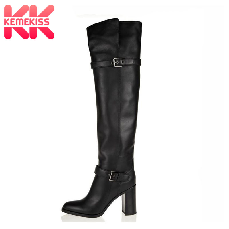 size 31-45 women real genuine leather high heel over knee boots sexy long boot winter warm botas militares footwear shoes R5391 coolcept size 31 45 warm winter boots for women real leather over knee long boots women rivets thick high heels warm botas