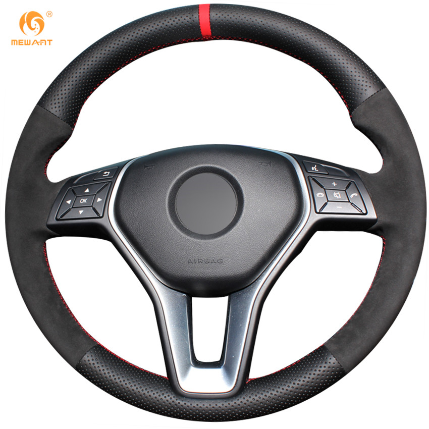 MEWANT Black Genuine Leather Black Suede Steering Wheel Cover for Mercedes Benz A-Class 2013-2015 B-Class 2011-2014 CLA-Class black rear trunk security shade cargo cover for mercedes benz glk class x204 20082009 2010 2011 2012 2013 2014 2015