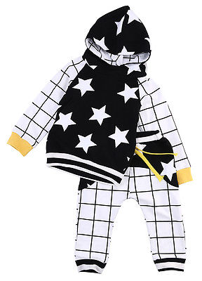 Cute Baby Kids Boy Girl Tops Star Hooded Sweatshirts+Pants 2pcs Outfits Set Clothes 6M-3Y
