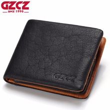 GZCZ Genuine Leather Wallet Men Coin Purse Card Holder Man Walet Zipper Design Male Vallet Clamp For Money Bag Portomonee Perse