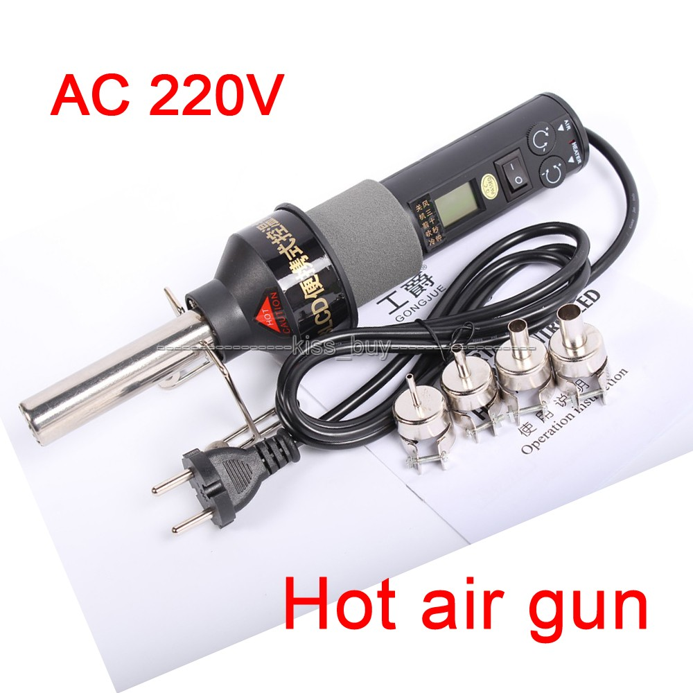 Ac 220v 450c 450w Lcd Hot Air Gun Portable Soldering Station Ics Smd Electronic Components Integrated Circuitsicsicchina Mainland For Bga Nozzle In Circuits From Supplies On
