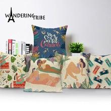 Funda de almohada de impresión escénica Tropical verano playa Casa de Campo decoración de lino decorativo sofá cojines funda Vintage funda de cojín