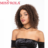 Miss Rola Hair Pre Colored Wigs #2/4 Color Brazilian Kinky Curly Short Hair Wigs For Women Whole Machine Average Size Non Remy