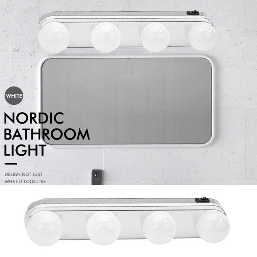 Estudio de hacer luz Super brillante bombillas 4 LED portátil cosmética espejo de luz Kit de batería de maquillaje Luz