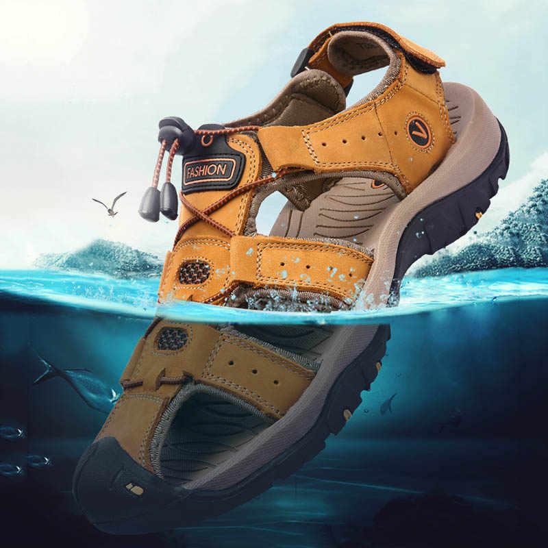 Летние мужские сандалии для прогулки на открытом воздухе кожа горный треккинг спортивные кроссовки противоскользящая дышащая акваобувь водные пляжные сандалии