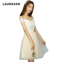 champagne lace junior short embellished bridesmaid ladies bridal maid birthday party dresses off shoulder dress 2019 for guest