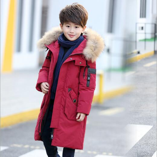 -30 Degrees Boys Thickening Warm Down Jackets Children Fur Collar Hooded Down Coats Boy Windproof Jacket Russia Cold Winter new 2017 winter baby thickening collar warm jacket children s down jacket boys and girls short thick jacket for cold 30 degree