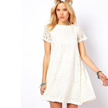 European Summer Style Women Dresses Fashion Casual Lace A Line Plus Size Dress White Black Green Red Clothing New Arrivals