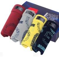 Men 4Pcs Pack Underwear Soft Boxers Cotton Muiticolor Shorts Underpants Male Panties