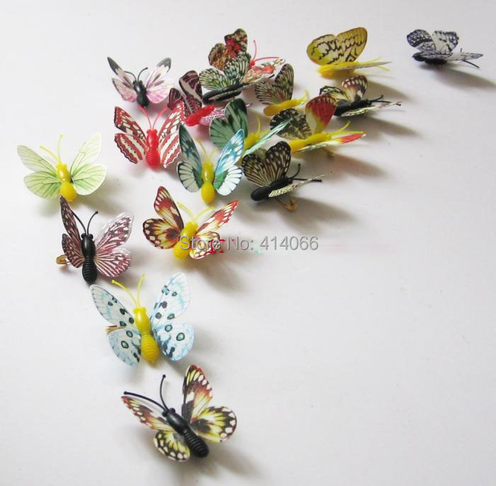 New 12pcs Mixed Style Wedding Home Bedroom Decor 3D Butterfly Fridge  Magnets Wall Stickers 4cm(