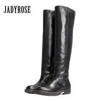 115ff22a0267 Jady Роза ручной черный женские облегающие высокие сапоги с вырезами из  натуральной кожи Ботфорты осень зима
