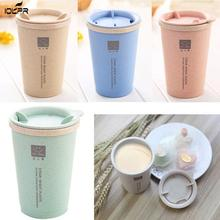 280ML Double-wall Insulation Wheat Straw Cup Fashion Protable Travel Mug Spill proof Cup Office Coffee Tea Water Cup #705 wheat straw double cup creative portable hand cup environmental protection cup with lid student cup tea coffee water
